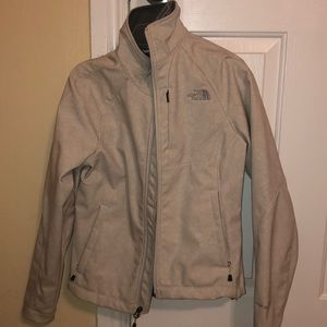 Women's White North Face Jacket with Gray Floral
